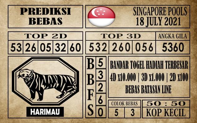 Prediksi Singapore Pools Hari ini 18 Juli 2021