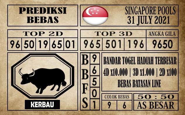 Prediksi Singapore Pools Hari ini 31 Juli 2021