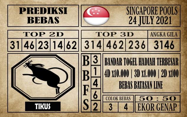 Prediksi Singapore Pools Hari ini 24 Juli 2021