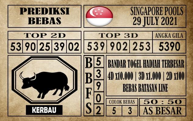 Prediksi Singapore Pools Hari ini 29 Juli 2021