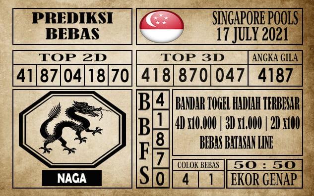 Prediksi Singapore Pools Hari ini 17 Juli 2021