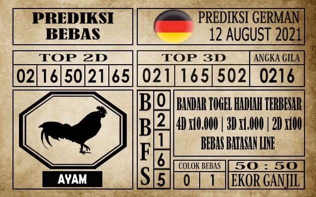 Prediksi Germany Hari Ini 12 Agustus 2021