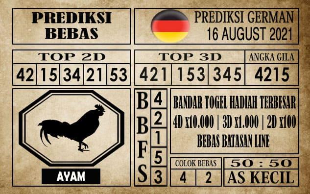 Prediksi Germany Hari Ini 16 Agustus 2021