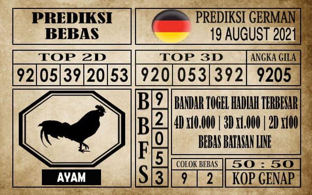 Prediksi Germany Hari Ini 19 Agustus 2021