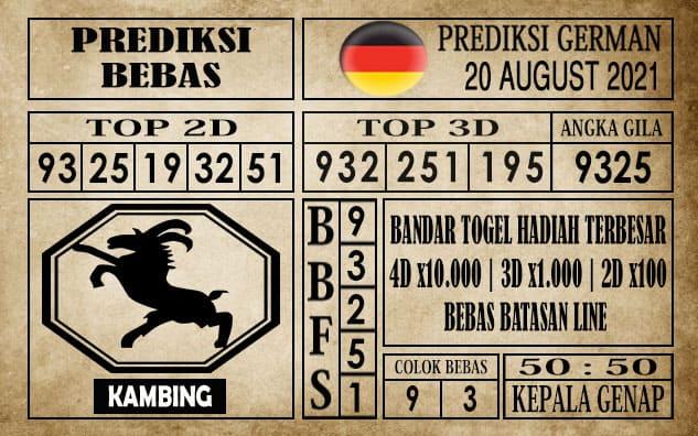 Prediksi Germany Hari Ini 20 Agustus 2021