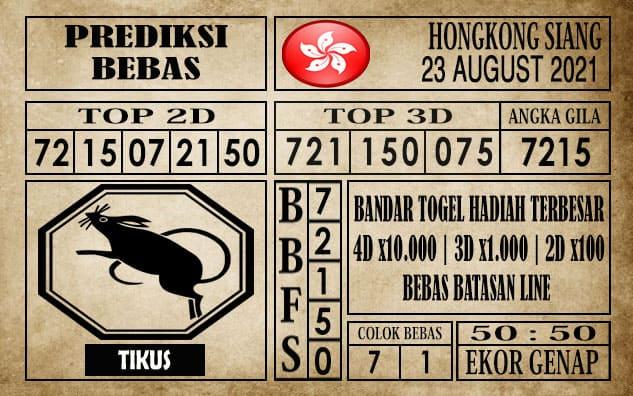 Prediksi Hongkong Siang Hari Ini 23 Agustus 2021