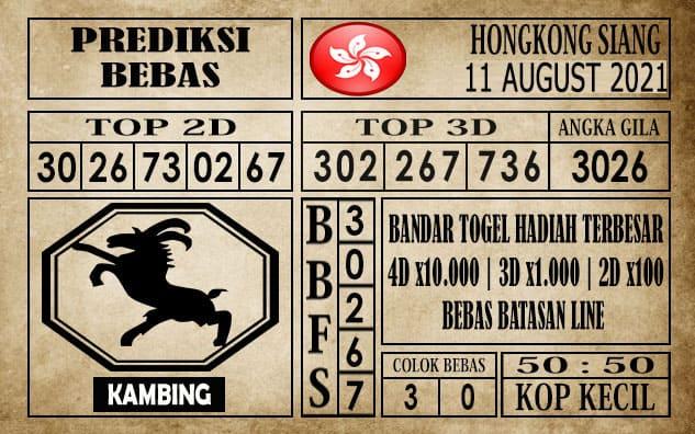 Prediksi Hongkong Siang Hari Ini 11 Agustus 2021