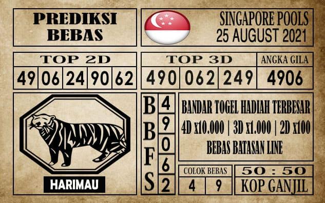 Prediksi Singapore Pools Hari ini 25 Agustus 2021