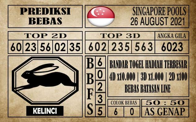 Prediksi Singapore Pools Hari ini 26 Agustus 2021