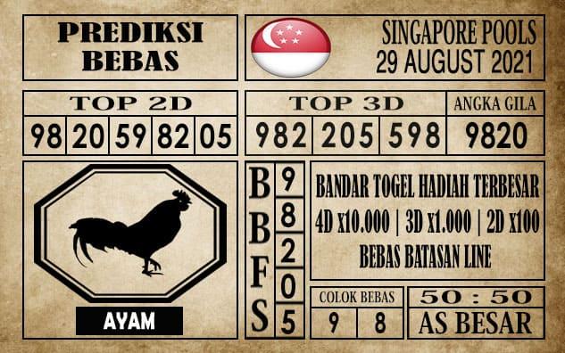 Prediksi Singapore Pools Hari ini 29 Agustus 2021