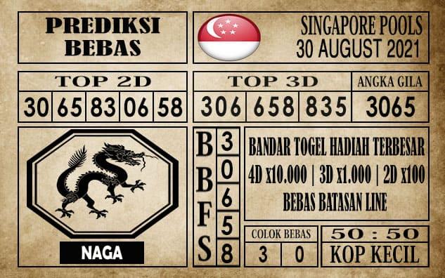 Prediksi Singapore Pools Hari ini 30 Agustus 2021