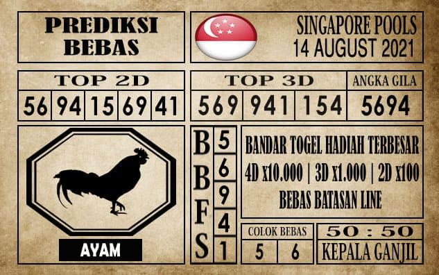 Prediksi Singapore Pools Hari ini 14 Agustus 2021