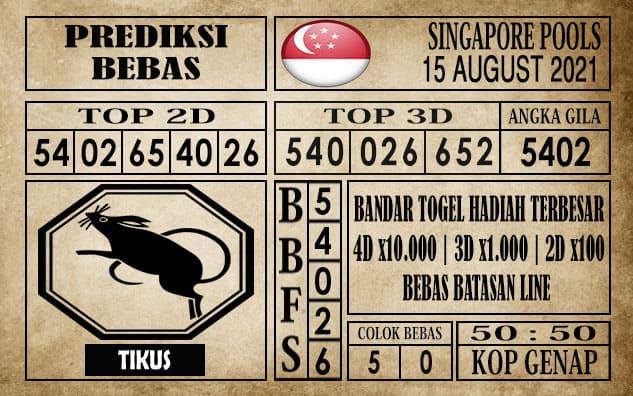 Prediksi Singapore Pools Hari ini 15 Agustus 2021