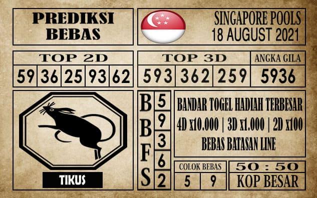 Prediksi Singapore Pools Hari ini 18 Agustus 2021