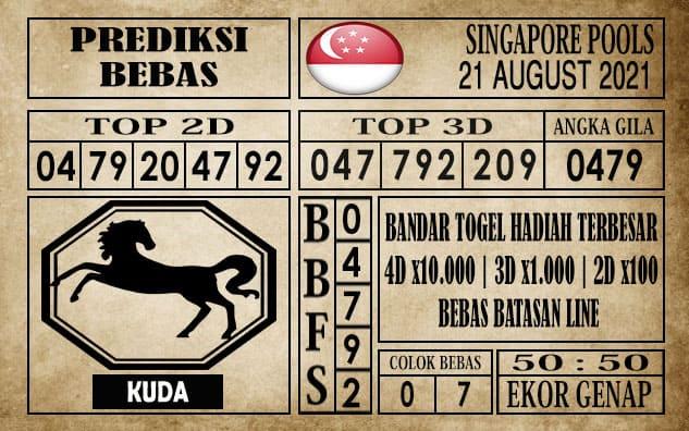 Prediksi Singapore Pools Hari ini 21 Agustus 2021