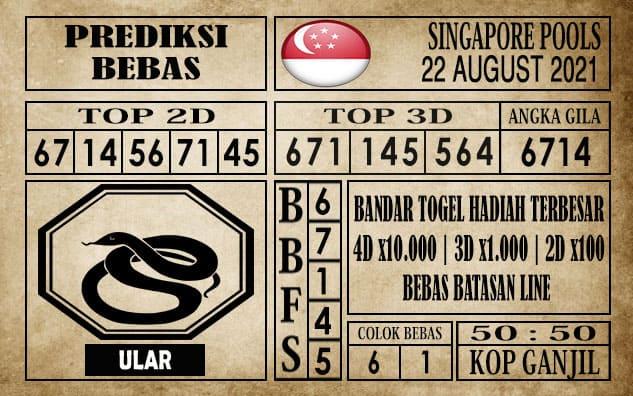 Prediksi Singapore Pools Hari ini 22 Agustus 2021
