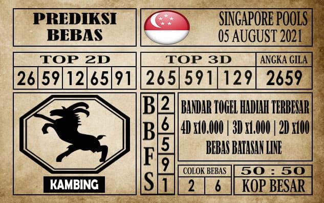 Prediksi Singapore Pools Hari ini 05 Agustus 2021